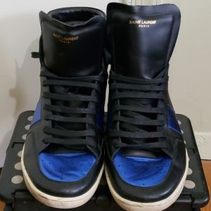 YSL Black/Blue Leather High-Top Sneaker (Size 48)